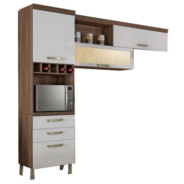 Cozinha Compacta 3 Peças Condessa Nesher Móveis Nogal/Branco