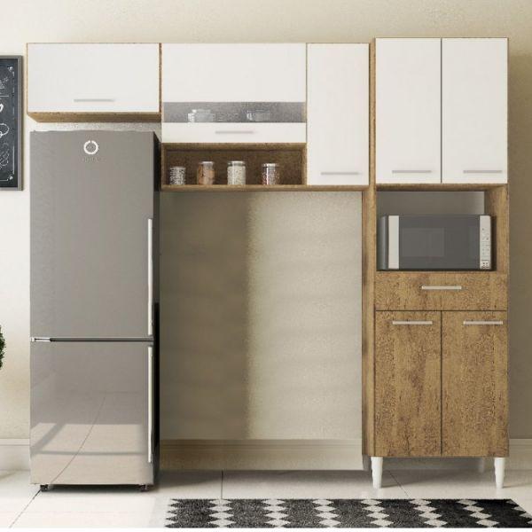 Cozinha Compacta em L 7 Portas 1 Gaveta Paris Gold Móveis Ronipa Mel com Branco