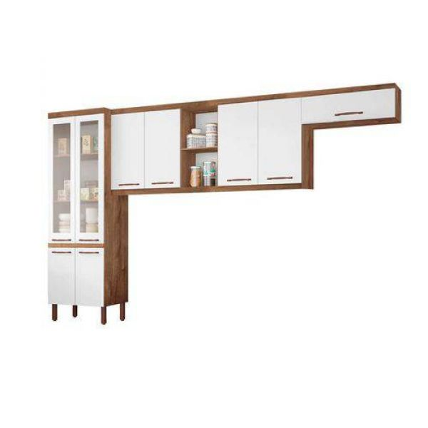 Cozinha Compacta Tuboarte Ágata 9 Portas Amêndoa/Branco