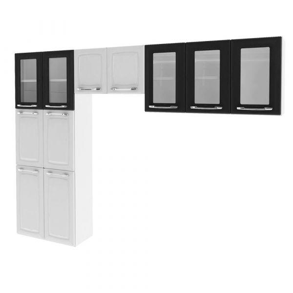 Cozinha Itatiaia Criativa Max II 3 peças (Armário aéreo + Paneleiro + Nicho) Branco/Preto