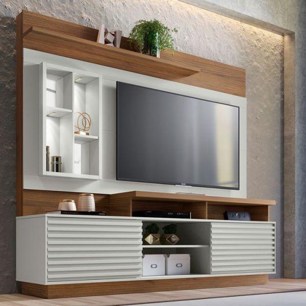 Estante Home Theater para TV até 65 Linea Brasil Eldorado Nogueira/Off White