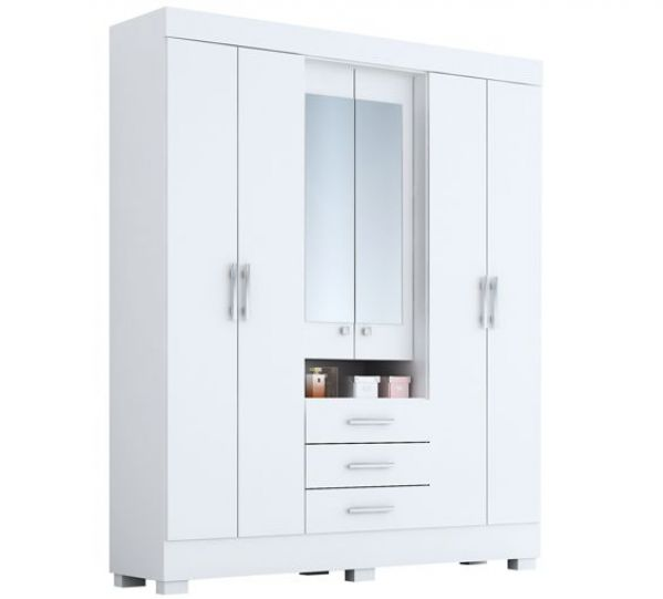 Guarda Roupa Casal com Espelho 6 Portas 3 Gavetas Capelinha Débora ACP Móveis - Branco