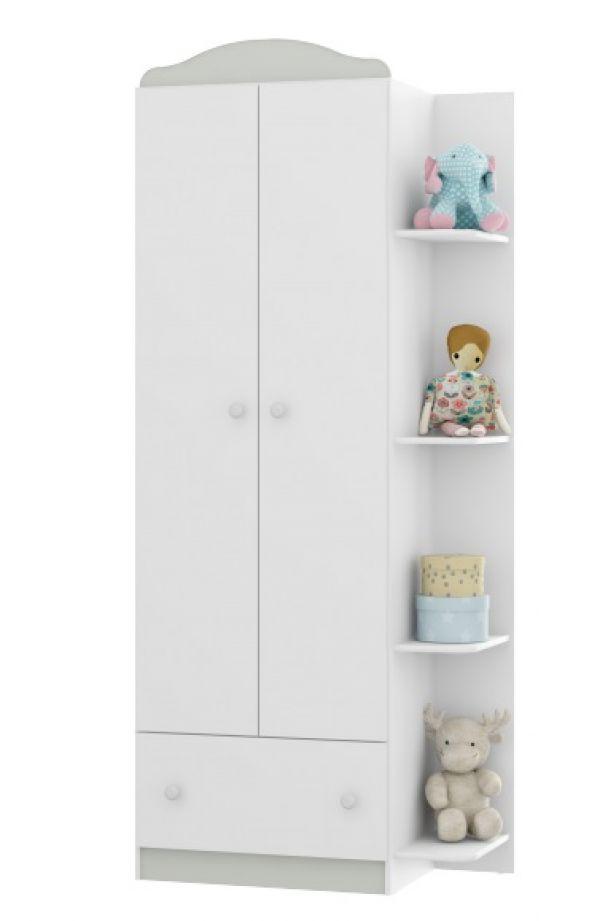 Guarda Roupa Infantil Multimóveis 2 Portas e 1 Gaveta Confete Plus com Saneflas Reversíveis nas Cores Branco/Rosa/Azul