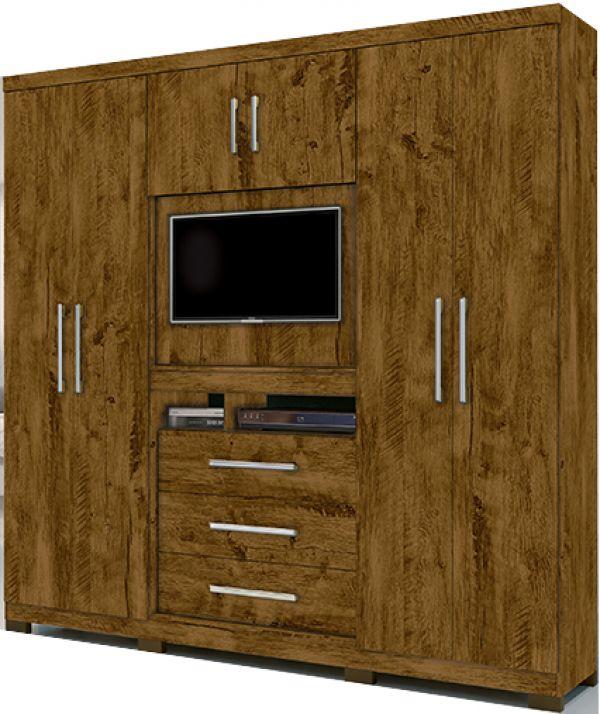 Guarda Roupa Moval Dubai 848331 Castanho Wood Com Pés