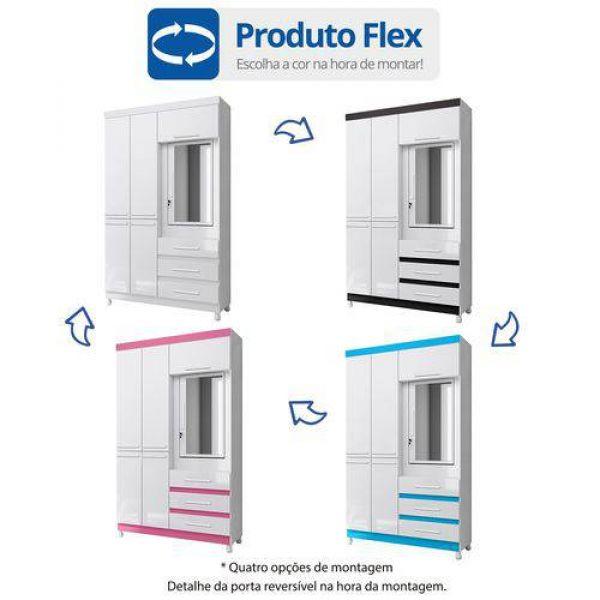 Guarda Roupa Solteiro com Espelho 6 Portas 3 Gavetas Fusion Albatroz Móveis Azul/Rosa/Branco/Preto