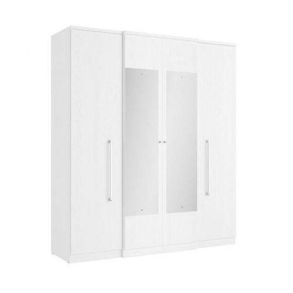 Guarda-Roupa THB Splendore Glass com Espelho 04 Portas e 02 Gavetas Branco