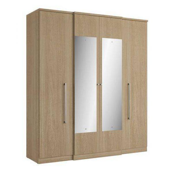 Guarda-Roupa THB Splendore Glass com Espelho 04 Portas e 02 Gavetas Vanilla
