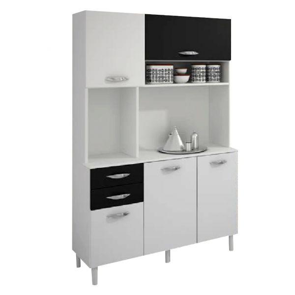 Kit Cozinha Durand Dora 5 Portas e 2 Gavetas Branco com Preto