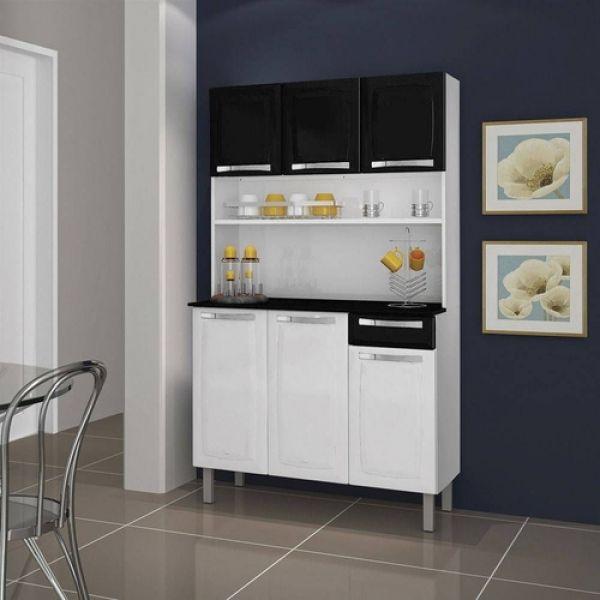 Kit Cozinha Itatiaia Rose Branco/Preto I3G1-105