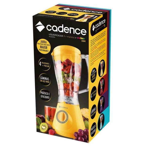 Liquidificador Cadence Trapèze Colors LIQ354 com 4 Velocidades, Jarra com Capacidade de 1,5 Litros e 350W - Amarelo
