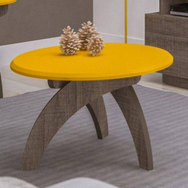 Mesa de Centro Retrô Artely Jade Amarelo com Canela