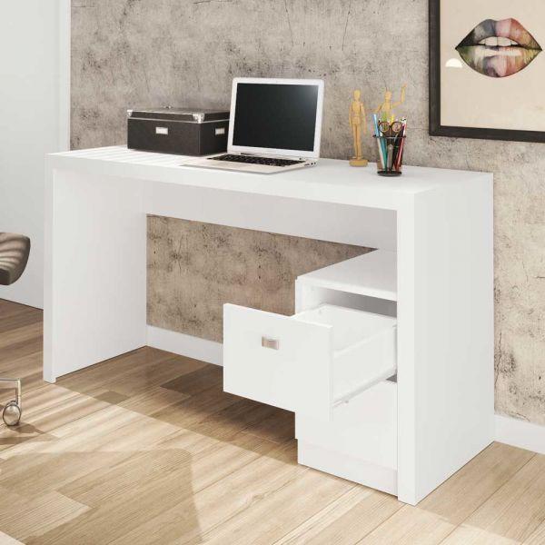 Mesa De Escritório Tecno Mobili Me4130 com 2 gavetas Branco