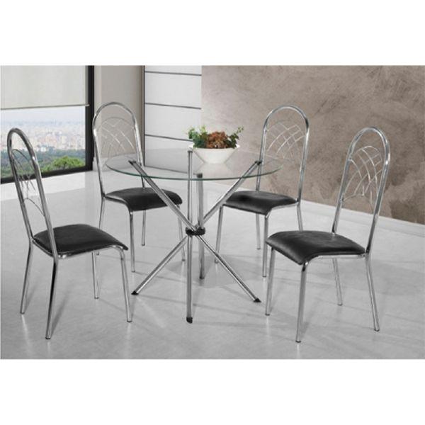 Mesa Laura Aço Nobre com 4 Cadeiras Redonda Tampo de Vidro