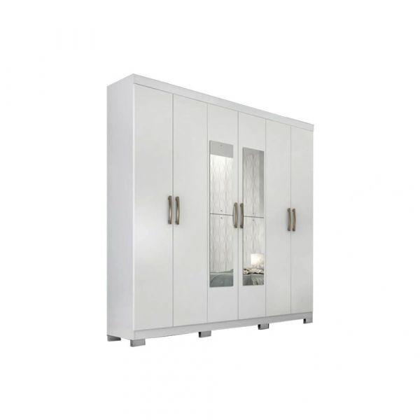 Roupeiro Panan Clara Flex 6 Portas e 3 Gavetas com Espelho Branco