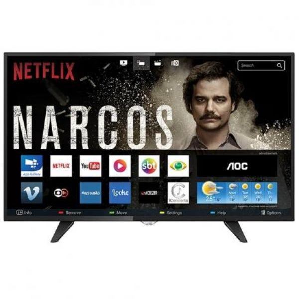 Smart TV LED 39 HD AOC LE39S5970 com Wi-Fi, Botão Netflix, App Gallery, Conversor Digital Integrado, Entradas HDMI e USB