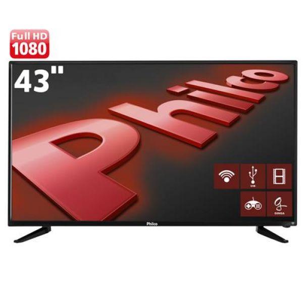 Smart TV LED 43 Full HD Philco PH43N91DSGWA com Wi-Fi, ApToide, Som Surround, MidiaCast, Entradas HDMI e USB