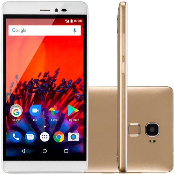 Smartphone MS60F 4G Tela 5,5 Sensor de impressão digital 1GB RAM Dual Chip Android 7 Multilaser Dourado P9056