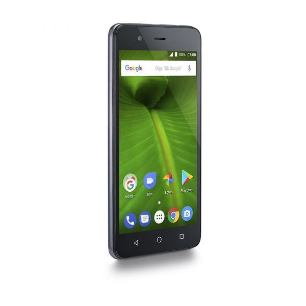 Smartphone Multilaser MS50L 4G Quad Core 1GB RAM Tela 5 Dual Chip Android 7 Prata/Preto P9060