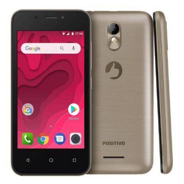 Smartphone Positivo Twist Mini S431 8GB Quad-Core 3G Dual Chip Android Oreo Tela 4 Dourado