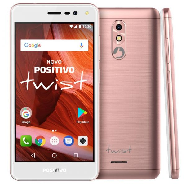 Smartphone Positivo Twist S511 Rosa, 16GB, 1GB RAM, Android 7.0, Quad-Core, Camera de 8MP com Flash e tela de 5 Polegadas