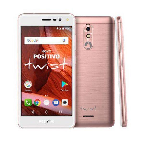 Smartphone Positivo Twist S511 Rosa com 16GB, Tela 5, Android 7.0, Dual Chip, Câmera 8MP, 3G, Wi-Fi, Bluetooth e Processador Quad-Core de 1.2 Ghz
