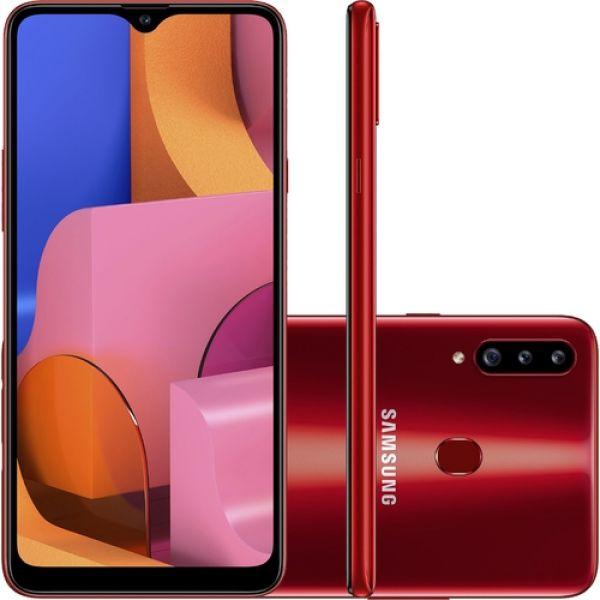 Smartphone Samsung Galaxy A20s 32GB Dual Chip Android 9.0 Tela 6.5 Octa-Core 1.8 GHz 4G Câmera Tripla 13.0 MP + 5.0 MP + 5.0 MP(UW) - Vermelho