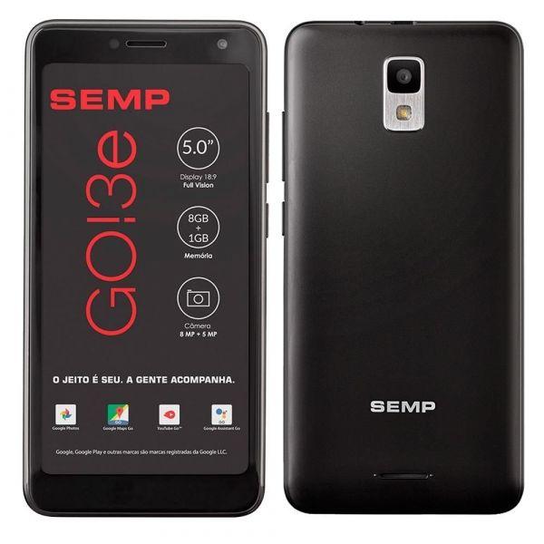 Smartphone Semp Go 3E Tela 5, 3G+wi-fi, Android, Câmera Traseira 8mp e Frontal 5mp, 8gb - Preto