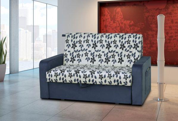 Sofá Cama com Baú Matrix Daiane Azul Estampado Floral