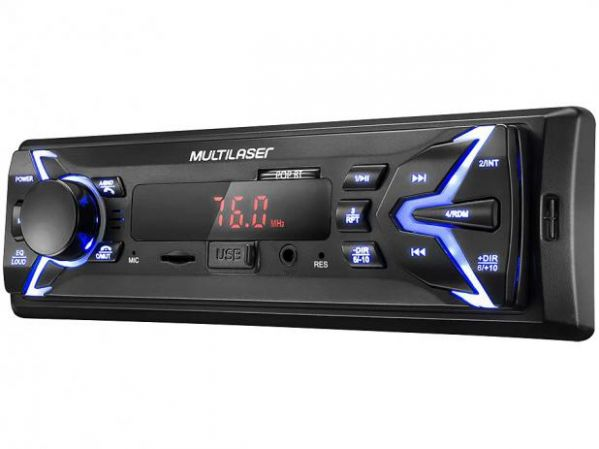 Som Automotivo Multilaser Pop BT Bluetooth MP3 Player Rádio FM USB Micro SD Auxiliar