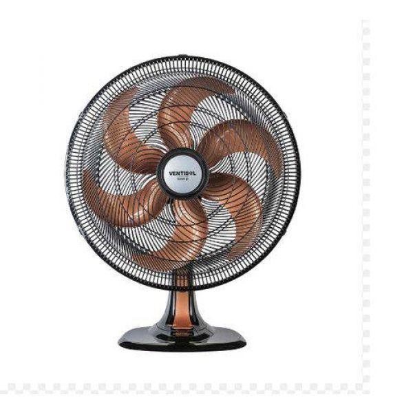 Ventilador Oscilante Mesa Turbo 6 Pás 50cm Preto Hélice Bronze Ventisol Premium 220V 135w