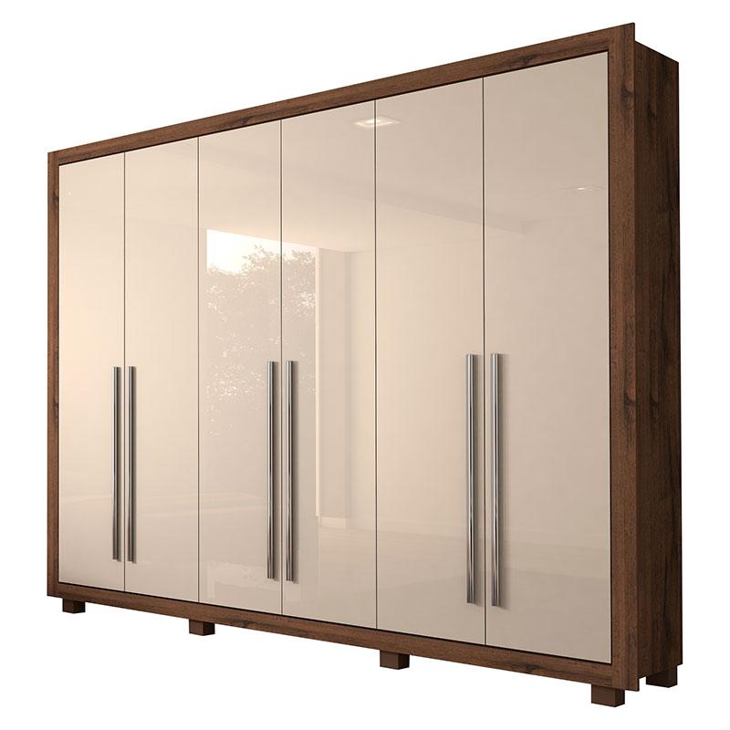 Roupeiro de Casal Verona Docelar 6 Portas 4 Gavetas Espelho interno Imbuia Prime/Off White