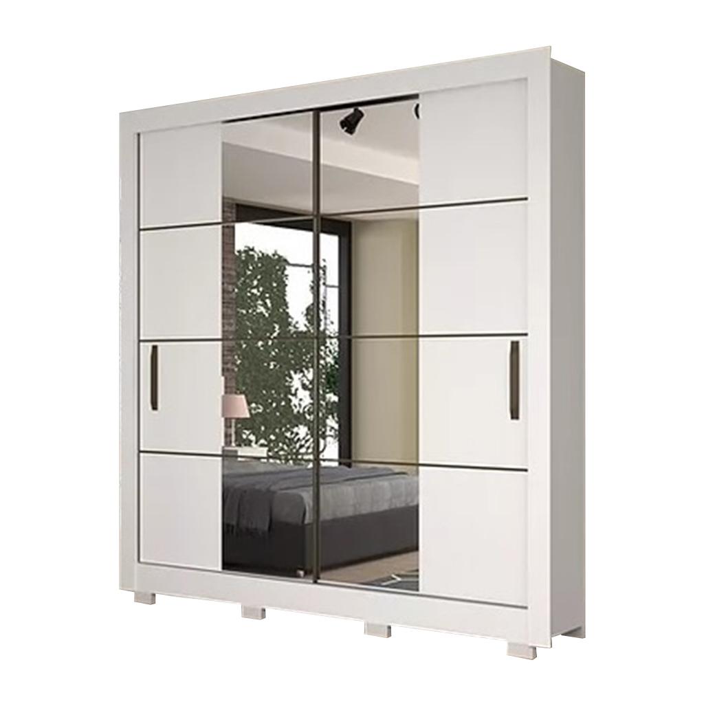 Roupeiro Dominum Josan Móveis 2 Portas de Correr com Espelho Branco