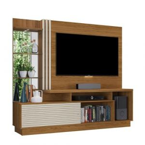 Estante Home Theater para TV até 60 Madetec Frizz Plus Naturale/Off White