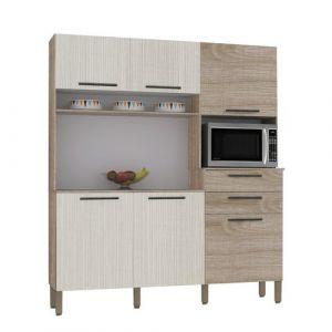 Armário de Cozinha 6 Portas 2 Gavetas Montesa Kits Paraná Nogal/Arena