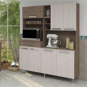 Armário Kit Cozinha Bruna Indekes 7 Portas Noce/Salinas