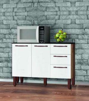 Balcão de Cozinha Tuboarte Ravena 2 Portas e 3 Gavetas Amendoa e Branco