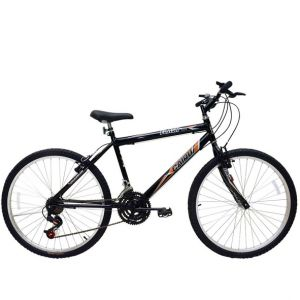 Bicicleta Aro 26 Cairu Flash Bike MTB Masculina com 18 Marchas Preta