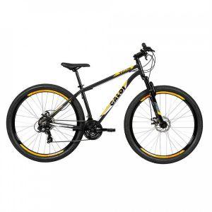 Bicicleta Aro 29 Caloi Vulcan com Suspensão Dianteira - Cinza/Amarela