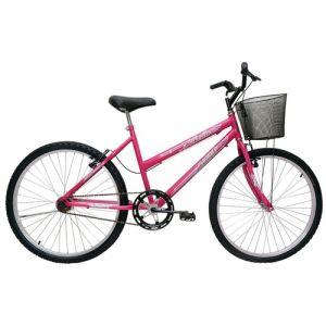 Bicicleta Cairu Bella Aro 24 Feminina com Cesta Rosa/Pink