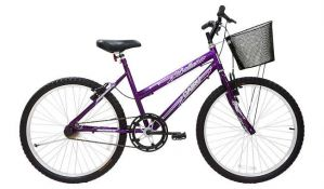 Bicicleta Cairu Bella Aro 24 Feminina com Cesta Violeta