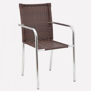 Cadeira para Jardim/Área Externa Alegro Móveis C315 Alumínio Acabamento Fibra Sintética Castanho