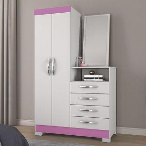 Comoda Multiuso Notavel 2 portas 4 gavetas Branco/Rosa