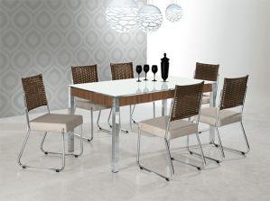 Conjunto de Mesa Aço Nobre 6 Cadeiras Farcinare Formato