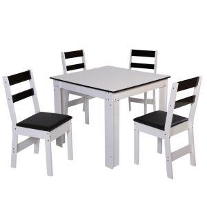 Conjunto de Mesa quadradacom 4 Cadeiras Arezzo São Carlos Branco/Preto