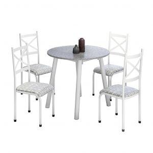 Conjunto de Mesa Cris 2 Mila Tampo Redondo de Granito 4 Cadeiras Branco