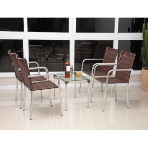 Conjunto de Mesa para Jardim/Área Externa Alumínio com 4 Cadeiras Alegro Móveis Flora Castanho