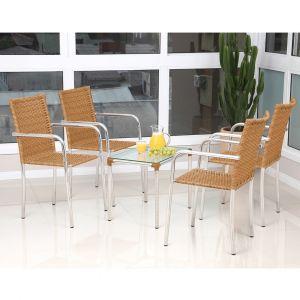 Conjunto de Mesa para Jardim/Área Externa Alumínio com 4 Cadeiras Alegro Móveis Flora Marfim