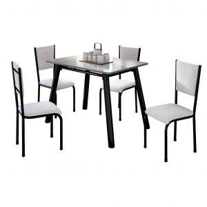 Conjunto de Mesa Valentina Mila Tampo Retangular de Granito 120x75cm 4 Cadeiras Preto