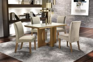 Conjunto de Sala de Jantar LJ Móveis Tampo de Vidro 4 Cadeiras Bege