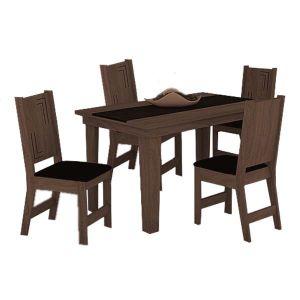 Conjunto Sala de Jantar Atrativa Mesa mais 4 Cadeiras Noroesty Móveis Chocolate